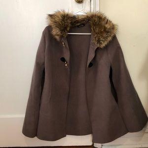 Boohoo faux fur cape